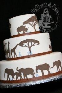 Orange stripes/ or background with silhouette of animals Beautiful Cakes, Amazing Cakes, Safari Wedding, Safari Party, Elephant Wedding, African Wedding Cakes, African Weddings, Africa Cake, Silhouette Cake