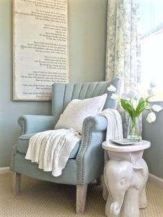 Hints of powder blue and soft white create a soothing escape in the summer heat.