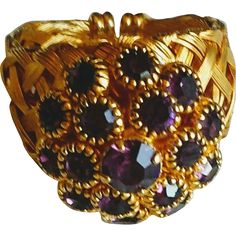 Vintage Purple Rhinestone Cluster Ring Adjustable at whimsicalvintage.rubylane.com Please visit my sale section for savings of up to 50% off vintage jewelry, collectibles, porcelain, pottery and glass. #rubylane #vintagerings