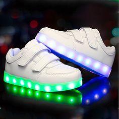 Para Meninos sapatos Couro Ecológico Outono Inverno Tênis com LED Tênis LED para Casual Ao ar livre Branco Preto