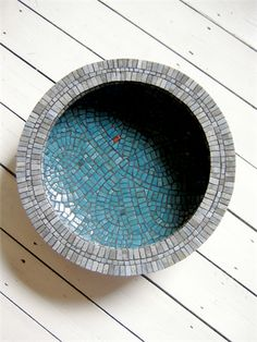 Decorative Mosaic Bowl with mixed glass tiles.