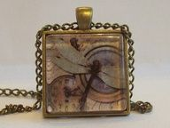 Handcrafted Antique Bronze Glass Pendant Dragonfly by DBHjewellery, $9.50