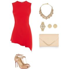 Red & Nude by lucymarmanillotarraga21 on Polyvore featuring moda, Victoria Beckham, Christian Louboutin, Accessorize, Kate Spade, Michael Kors and River Island