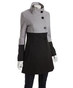 light grey colorblock cotton blend funnel neck 'Anya' trench coat