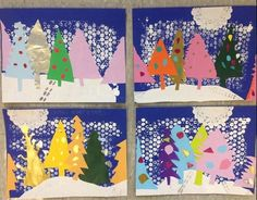 Mrs. Knight's Smartest Artists: Snowy Evergreens collage & print, 2nd grade