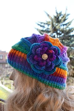 ee6c7f465c85f2 Knitted flower cap / hat lovely warm autumn accessories women clothing Knit  Hat Womens