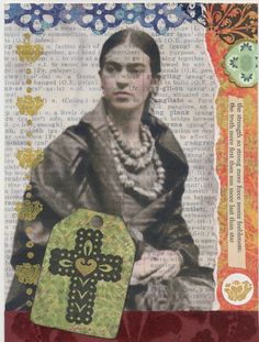 Frida Kahlo original art mixed media collage cross vintage text stamps religious small wall art frame painting gold. $18.00, via Etsy.