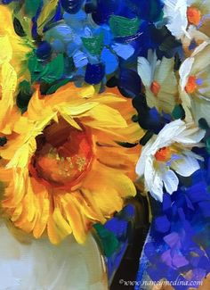 Seeking Spring Sunflowers, painting by artist Nancy Medina