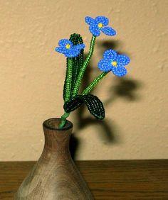 Forget-me-not Sprig French Beaded Flower by DeesBeadedFlowers