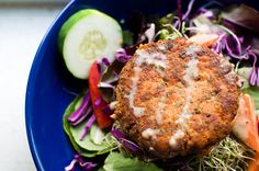 One of the first Whole30 recipes I tried was No Fuss Salmon Cakes.  Yummy filling and work for any meal of the day.