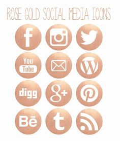 Rose Gold Social Media Icons by Opheliafpg on Etsy Web Design, App Icon Design, Logo Design, Graphic Design, Social Media Branding, Social Media Icons, Social Media Graphics, Business Branding, Social Media Packages