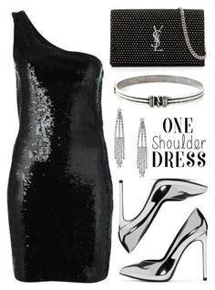 """One-shoulder dress"" by jan31 ❤ liked on Polyvore featuring Yves Saint Laurent"