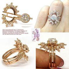 Round Moissanite Engagement Ring Sets Tiara Ring Guard 14K Rose Gold 6.5mm