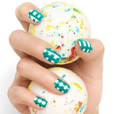 "Pick your team colors and then look up the directions for ""Gingham Style"" by Essie. #football #nailart"