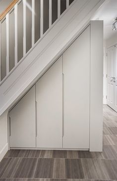 Alcove Storage Living Room, Living Room Built In Cabinets, Hallway Cupboards, Built In Cupboards, Cabinet Under Stairs, Door Under Stairs, Stairs And Doors, Space Under Stairs, Staircase Storage