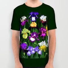 Iris garden all-over print shirt, flower, gardener, botanical, landscape, blue, yellow, violet, black, floral, T shirt, sublimation shirt by RVJamesDesigns on Etsy