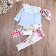 8f0971ebb 3pcs Outfit Floral Baby Girls Clothing   Long Sleeve T-shirt+ Pants +  Cotton Headband