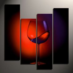 Abstract Wine Glass Paintings Canvas,abstract wine art,
