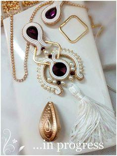 Soutache Pendant, Soutache Necklace, Ring Necklace, Pendant Necklace, Shibori, Earrings Handmade, Handmade Jewelry, Soutache Tutorial, Bead Crafts