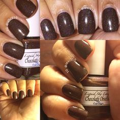 Who doesn't love chocolate? Well how about warring it on your nails.  This beauty is 'Chocolate Obsession' by Liquid Sky Lacquer and it's a real stunner.