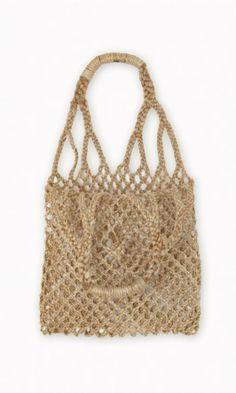 String Bag - jute bag in 70s macramé style with bound round handles. W30cm x H30cm. Handle H20cm. | Plümo Ltd