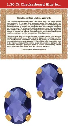 1.30 Ct Checkerboard Blue Iolite 14K Yellow Gold 4-prong Stud Earrings 7x5mm. Contemporary and distinctive our Iolite gem stone earrings are sure to be great addition to any jewelry collection. Iolite is a beautiful stone making it perfect for any occasion and holiday. Show her you care with a gift that will compliment her style flawlessly. As always with all of our products this item comes in packaging making it ready for gifting as soon as it is received.This beautiful item is brand new...