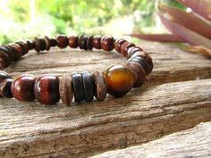 Tigers Eye Coconut & Wooden Beaded Mens Bracelet / by cainersbliss