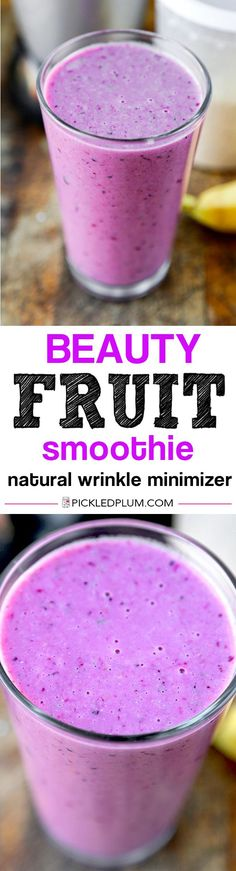Beauty Fruit Smoothie - Easy and delicious fruit smoothie packed with anti aging properties The perfect everyday breakfast! vegan gluten free pickledplumcom click now for more. Smoothie Recipes With Yogurt, Easy Smoothies, Breakfast Smoothies, Breakfast Fruit, Yogurt Smoothies, Yogurt Recipes, Free Breakfast, Fruit Recipes, Fruit Yogurt