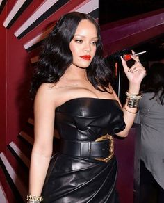 Rihanna in leather