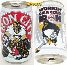 GOALIE NET MINDER COLD IRON PITTSBURGH PENGUINS ICE HOCKEY NHL BEER CAN PA.SPORT