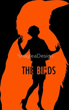 Buy this artwork on wall prints, t-shirts, bags, phone case, scarf, leggins, stickers, and much more.  The Birds, the birds, movie, quote, with the birds ill share this lonely view, film, alfred hitchcock, horror, vintage, classic ,retro, birds, vector art, minimal