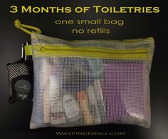 The photo above is every toiletry item I need for 6 months. Seriously, without refilling anything.   That includes menstrual products. ...