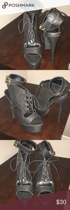I just added this listing on Poshmark: Black open toe tie up heels. #shopmycloset #poshmark #fashion #shopping #style #forsale #Shoes