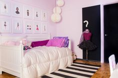 Girls bedroom decor inspired by her love for fashion. Framed fashion illustrations line the wall. Pink, black and white bedroom Interior design by reStyled by Valerie
