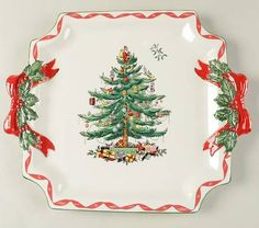 Christmas Tree (Green Trim) Canape Plate by Spode Spode Christmas Tree, Ribbon On Christmas Tree, Christmas Ornaments, Christmas Tree Collection, Holly Tree, Cup And Saucer Set, Red Ribbon, Decorative Plates, Green