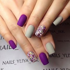 Accurate nails, Beautiful new year's nail, Grey nails, Manicure on the day of lovers, Matte nails, Medium nails, Nails with rhinestones, Nails with rhinestones ideas