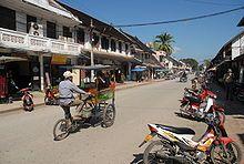 Una calle de Luang Prabang.