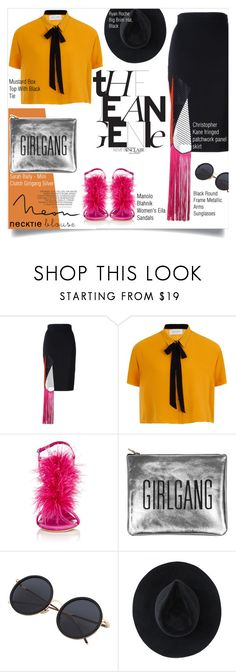 """""""Necktie Blouse"""" by zalarupar ❤ liked on Polyvore featuring Christopher Kane, Elvi, Manolo Blahnik and Ryan Roche"""