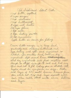 I wonder if this is the recipe Mrs. Frankie used? Stack cake is best known in the Appalachia Mountains as a wedding cake. Cake ingredients were expensive, so when a couple married, families from the communit Retro Recipes, Old Recipes, Vintage Recipes, Cookbook Recipes, Cake Recipes, Dessert Recipes, Cooking Recipes, Recipies, Blender Recipes