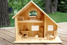 Wood Doll House with Furniture by simplertimestoys on Etsy, $155.00