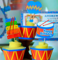Baby Boy First Birthday Music Cake Topper and Centerpiece Party Decorations - Musical Instruments, Baby Shower Music Party Decorations, Party Centerpieces, Birthday Decorations, Birthday Party Themes, Birthday Ideas, Centerpiece Decorations, Birthday Photos, Happy 4th Birthday, Baby Boy First Birthday