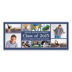 Modern Ten Photo Collage Graduation Announcment Card
