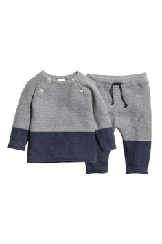 Dark blue& BABY EXCLUSIVE& Set with garter-stitched sweater and pants in organic cotton. Sweater with buttons at top and long raglan sleevesKnitted jumper and trousers - Dark blue/Grey - KidsBaby Girl Clothes - Shop for your baby onlineBoy's New Arri Little Boy Fashion, Baby Boy Fashion, Fashion Kids, Jumper Outfit, Toddler Pants, Toddler Sweater, Baby Boy Outfits, Kids Outfits, Dark Blue Grey