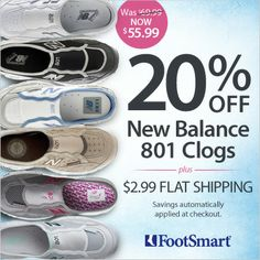 Enjoy the comfort of a walking shoe in a slide! Great shoe for travel!  20% OFF New Balance 801 Clog + $2.99 Flat Shipping! Limited Time Only!! Use Code: PNNEWBAL  *Pink Ribbon color- For every pair of Pink Ribbon slides purchased, New Balance will donate a portion to breast cancer research. #FootSmart