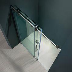 Vigo Clear Glass Frameless Sliding Shower Door by Vigo Frameless Sliding Shower Doors, Glass Shower Doors, Sliding Door, Glass Doors, Modern Bathroom, Small Bathroom, Casas Containers, Master Bath Remodel, Master Shower