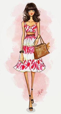 Paper Doll: fashion illustration by Melissa Bailey Dolce & Gabanna outfit Arte Fashion, Girl Fashion, Illustration Sketches, Fashion Illustrations, Beautiful Sketches, Girly, Fashion Figures, Fashion Design Sketches, Drawing People