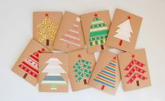 Easy DIY Holiday Crafts - Forest of Fabric - Click pic for 25 Handmade Christmas Cards Ideas. Use fabric, ribbon or washi tape. Christmas Card Crafts, Homemade Christmas Cards, Christmas Wrapping, Simple Christmas, Handmade Christmas, Holiday Crafts, Christmas Trees, Christmas Card Ideas With Kids, Christmas Fabric