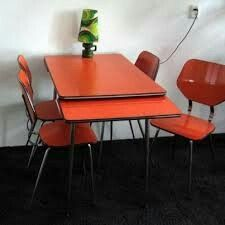 vintage kitchen table set with 4 chairs by brabantia