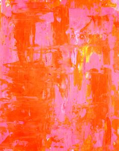 Abstract Art Print Pink, Orange, Yellow and White - Modern, Contemporary 16 x 20. $18.00, via Etsy.