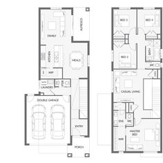 Search and compare new home designs in Victoria - Prices, Floorplans, Inclusions, Facades, Display Homes and more. Double Storey House Plans, Double House, Narrow House Plans, Two Storey House, Dream House Plans, Modern House Plans, Duplex Design, Townhouse Designs, Duplex Floor Plans